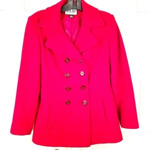 100% RED WOOL DOUBLE BREASTED CAR COAT by MDP S-S